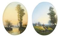 bord de fleuve avec une barque, paysannes dans un paysage (pair) by constant troyon
