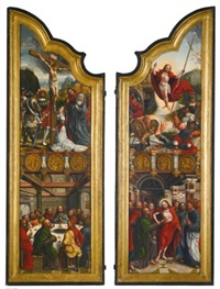 a pair of altar wings with scenes from the life of christ by bernaert (barend) van orley