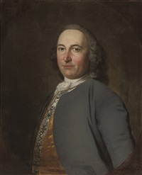 portrait of a gentleman, in a grey coat by frans van der myn