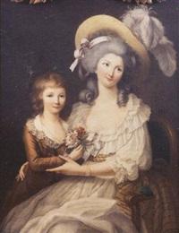 portrait de femme avec son fils by jean voilles