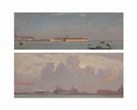 views of venice seen from the lagoon (2 works) by francois-louis-david bocion