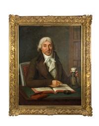 portrait de vermond, médecin de la reine marie-antoinette, à sa table de travail lisant le traité d'accouchement by guillaume voiriot