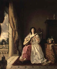 the lute player by gilbert stuart newton