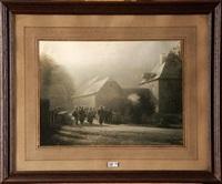femmes et enfants sortant de la ferme fortifiée by léonard misonne