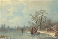 vinterlandskap med pimpelfiskare by joseph magnus stack