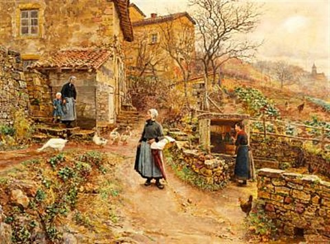 young peasant girl on her way to the market by marie françois firmin girard