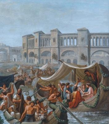 ein römisches fest auf der ripa maxima im alten rom una festa sulla ripa maxima nella roma antica by carlo ademollo