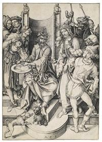 pilatus wäscht sich die hände, pl. 6 (from die passion) by martin schongauer