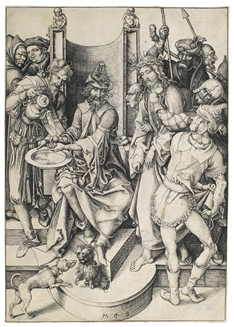 pilatus wäscht sich die hände pl 6 from die passion by martin schongauer