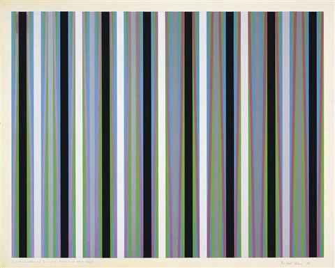red crossing blue and green with blacks and dark greys by bridget riley