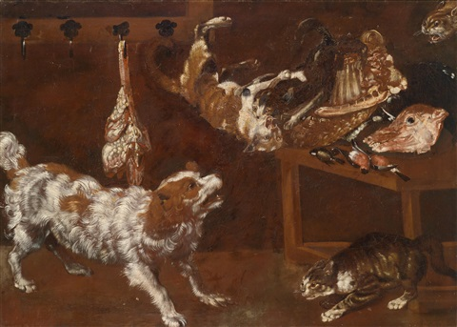 küchenstillleben mit sich streitenden hund und katzen by frans snyders
