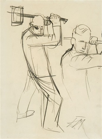 pioniere pinselstudie study verso by otto dix