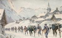 village de mont geniève en hiver by bernard rambaud