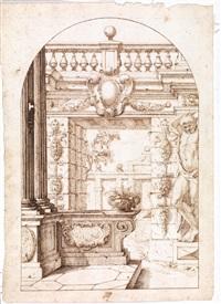 capriccio architettonico con colonne e telamone by carlo antonio buffagnotti