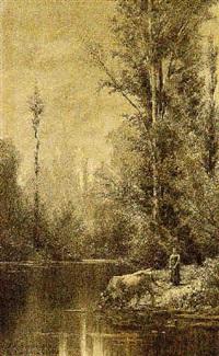 paesaggio con figura by alfredo d' andrade