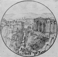 a view of tivoli with the temple of the sybil by lievin cruyl