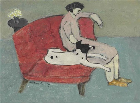 seated woman with dog by milton avery