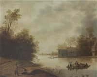 a river landscape with a ferry and figures resting in the foreground, farms beyond by anthonie van stralen
