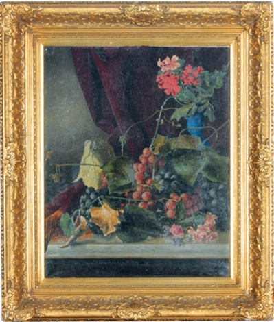 a still life with grapes and geraniums on a marble ledge by lawrence carmichael earle