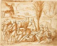 the hebrews camping in elim by bernard (le petit bernard) salomon