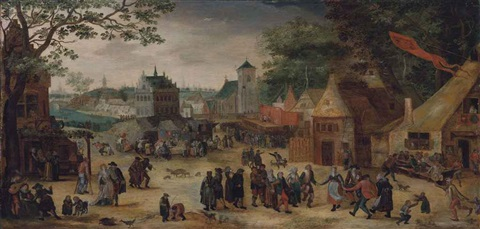 a village celebrating the kermesse of saint george by abel grimmer