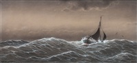 fishing boats in a storm by heinrich leitner