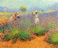 jeunes femmes au champs de lavande by claude fossoux