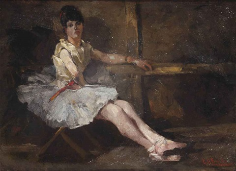 balletdanseres ballerina taking a rest by george hendrik breitner