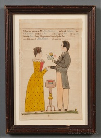 framed fraktur birth certificate by henry young