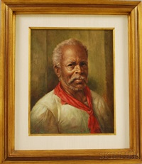 portrait of a man in a red neckerchief by e. migliaccio