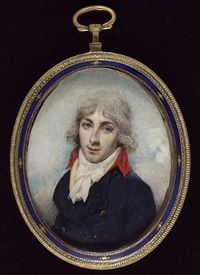 a young gentleman, wearing blue coat with red collar, yellow waistcoat and white cravat, his hair powdered by thomas arrowsmith