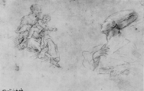 studies of the madonna and child with st januarius by fabrizio santafede