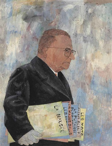 portrait of jean paul sartre by ben shahn