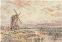 a windmill on the fens at dusk by charles frederick allbon