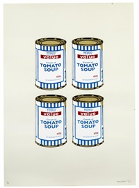 4 soup cans - gold on cream by banksy