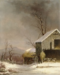 winter farm scene, connecticut by george henry durrie
