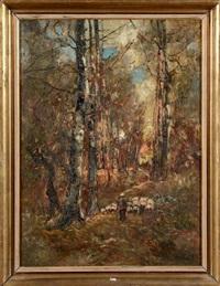 berger et son troupeau sur un chemin forestier by lászló paál