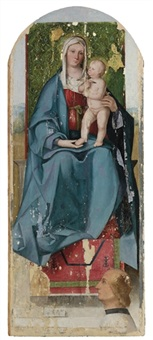 the madonna and child enthroned, with a donor by boccacio boccaccino