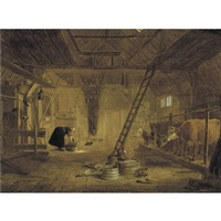 a barn interior with four cows, a milk maid cleaning a pot, and earthenware pots in the foreground by govert dircksz camphuysen