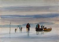 paisaje con pescadores by carlos uriarte