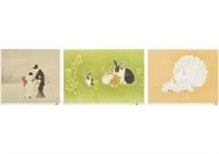 new firefly; rabbit ii; mother and child (3 works) by shoen, shoko, and atsushi uemura