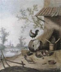 a cockerel, a chicken and a sleeping dog in a farmyard by a riverbank, a church beyond by margarethe de heer