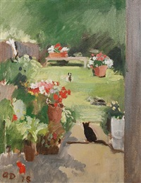 cat in the garden, victoria road by adrian maurice daintrey
