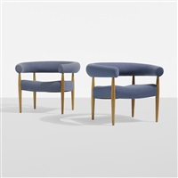 ring lounge chairs, pair by nanna and jørgen ditzel