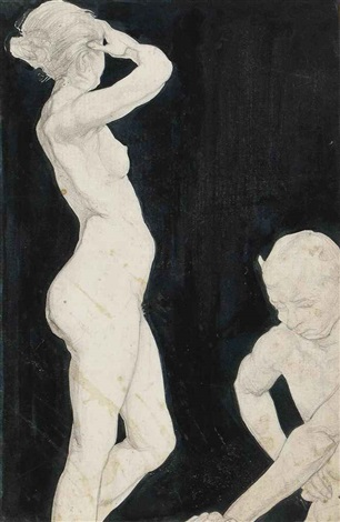 mystical figure and nude by austin osman spare