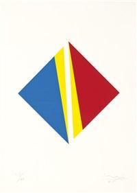 konstruktion zu weiss in blau, rot und gelb by max bill