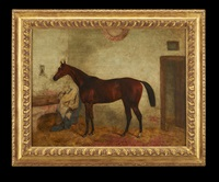 chestnut horse in the stable by british school (19)