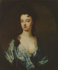 portrait of a lady (the countess of dorchester?) wearing a blue dress by william aikman
