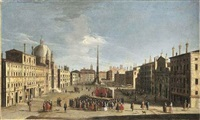 the piazza navona, rome, from the south, with a crowd watching a performance of the commedia dell'arte by jacopo fabris