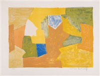 composition in yellow, orange and green by serge poliakoff